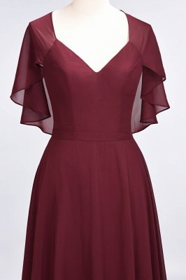 A-Line V-Neck short-sleeves Floor-Length Satin Bridesmaid Dress_5