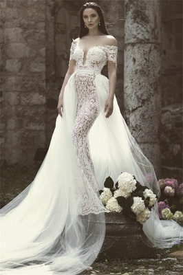 Glamorous Mermaid Off-the-Shoulder V-Neck Appliques Tulle Floor-Length Wedding Dresses