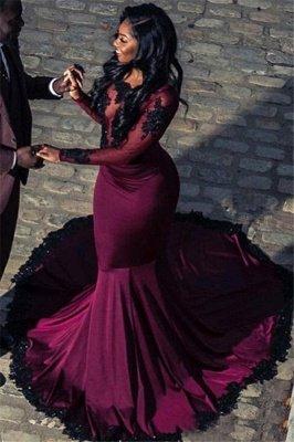 Elegant Mermaid Scoop Long-Sleeves Appliques  Floor-Length Prom Dresses_1