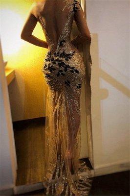 Elegant Sheath One-Shoulder V-Neck Backless Floor-Length Prom Dresses_3