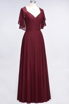 A-Line V-Neck short-sleeves Floor-Length Satin Bridesmaid Dress_4