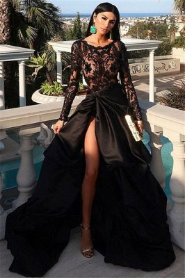 Elegant A-Line Scoop Long-Sleeves Appliques Front-Split Prom Dresses BC0877
