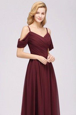 A-Line  V-Neck Spaghetti Straps Short-Sleeves Floor-Length Bridesmaid Dresses with Ruffles_6