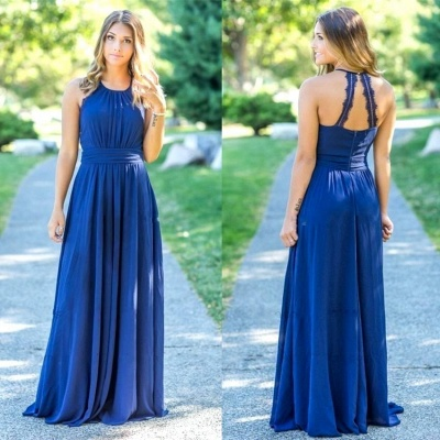 Ocean Blue Halter  Cheap Bridesmaid Dresses | A-line Open Back Floor-length Bridesmaid Dresses_3