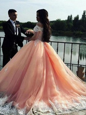 Glamorous Ball Gown  Off-the-Shoulder Appliques Sweep-Train Prom Dresses_3