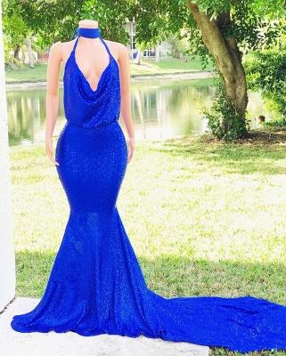 Stylish Mermaid Halter Sleeveless Sweep-Train V-Neck Prom Dresses_4
