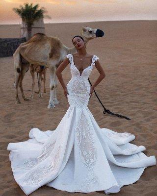Stylish Mermaid Cap-Sleeves V-Neck Appliques Wedding Dresses_3