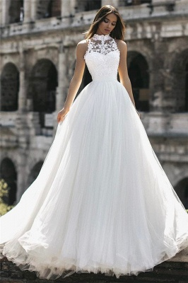Glamorous  Floor-Length High-Neck Sleeveless Appliques  A-Line Wedding Dresses_3