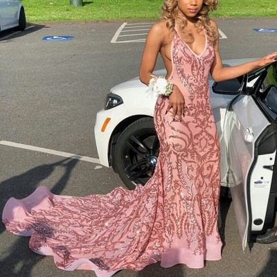 Elegant Mermaid Deep-V-Neck Halter Sleeveless Appliques Prom Dresses_3