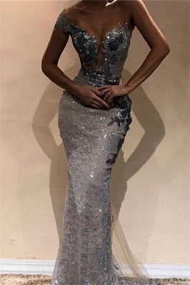 Glamorous Sheath One-Shoulder Silver Sequins Long Prom Dress_1