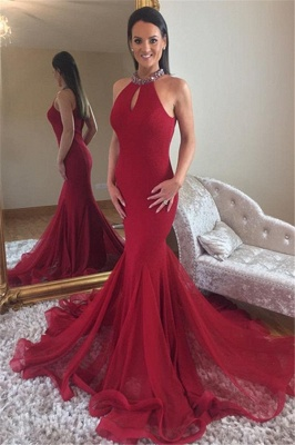 Elegant Mermaid High Neck Sleeveless Crystal Long Prom Dress_1