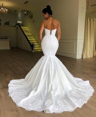 Gorgeous Mermaid Spaghetti Straps Sleeveless Lace Long Wedding Dress BC1956_2
