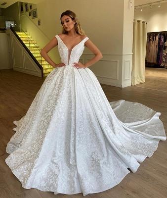 Gorgeous Off The Shoulder Appliques Long Wedding Dress_2