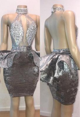 Halter Keyhole Neckline Appliqued Short Prom Dresses_2