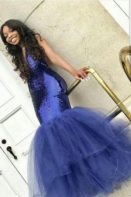 Sexy Navy Blue Mermaid Sequins Prom Dresses | Cheap  Sleeveless V-Neck Evening Dresses_1
