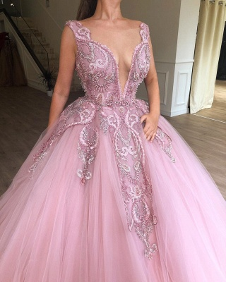 Glamorous Pink Ball Gown Deep V-Neck Sleeveless Applique Long Prom Dress_2