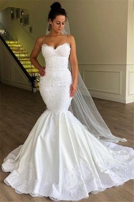 Gorgeous Mermaid Spaghetti Straps Sleeveless Lace Long Wedding Dress BC1956_1