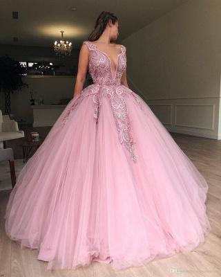 Glamorous Pink Ball Gown Deep V-Neck Sleeveless Applique Long Prom Dress_3
