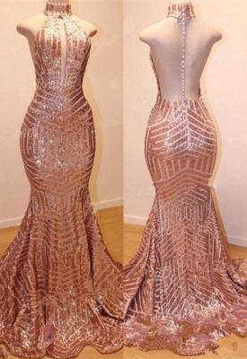 Shiny High Neck Sleeveless Sequins Mermaid Prom Dresses_4
