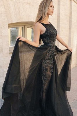 Sleeveless Sexy Mermaid Evening Gowns | Appliques Lace Overskirt Black Prom Dresses_2
