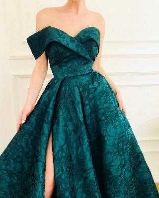 Elegant A-Line Off The Shoulder Lace Evening Dresses_3