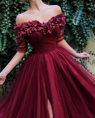 Burgundy A-line Off The Shoulder  Flower Applique Long Prom Dress_3