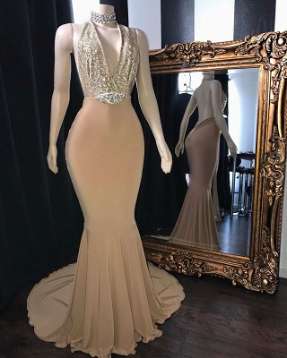 Champagne Crystal Halter Mermaid Long Prom Dresses | Sexy V-Neck Sleeveless Evening Gowns_2