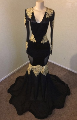 V-neck Long Sleeves Gold Appliques Black Mermaid Long Prom Dress_2