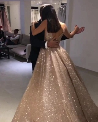 Shiny Gold Ball Gown Evening Dresses | Sexy V-Neck Sequin Prom Dresses_4