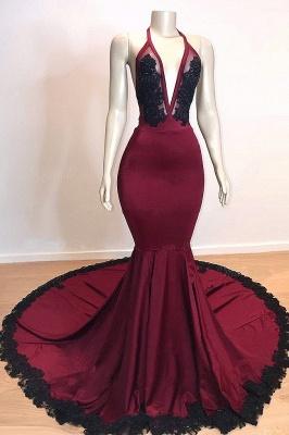Burgundy V-neck Halter Appliques Long Mermaid Evening Dresses_1