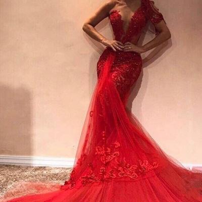 Gorgeous Mermaid One Shoulder  Appliques Long Prom Dress_2