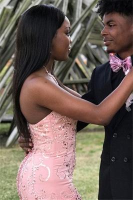 Pink Gorgeous Mermaid Strapless Ruffles Crystal Long Prom Dress_2