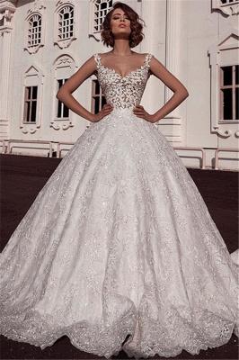 Glamorous Ball Gown Spaghetti Straps Sleeveless Lace Applique Long Wedding Dress BC2482_1