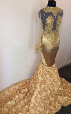 Sexy Mermaid Long Sleeves Flower Applique Champagne Long Prom Dress_1
