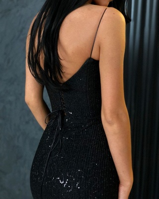 Sheath Spaghetti Straps Open Back Sequins Black Long Prom Dress_4