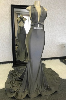 Sexy Mermaid Halter Sleeveless Crystal Criss Cross Long Prom Dress_1