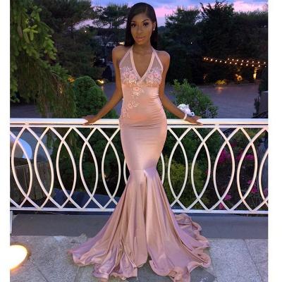 Gorgeous Pink Halter V-Neck Sleeveless Flower Appliques Long Prom Dress_2