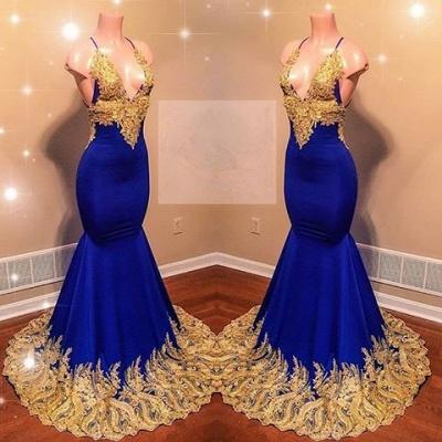 Appliques Spaghetti Sleeveless V-neck Mermaid Prom Dresses_3