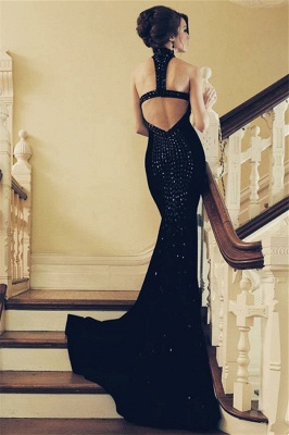 Halter Crystal Appliques Mermaid Black Prom Dresses | Sexy Sleeveless Open-Back Evening Dresses_2
