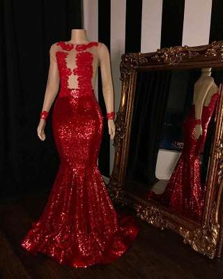 2019 Long Sleeves Sequins Mermaid Prom Gowns   Glamorous Sheer  Red Long Evening Dress_2