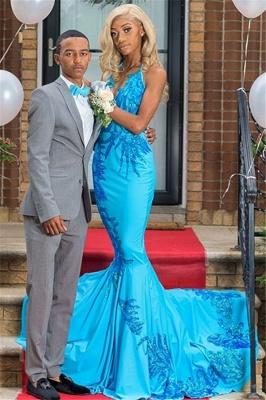 2019 Elegant Appliques Mermaid Prom Dresses | Sexy Blue Halter Sleeveless Evening Gowns_1