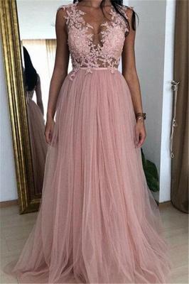 Elegant Pink A-line Sleeveless  Applique Long Prom Dress_1