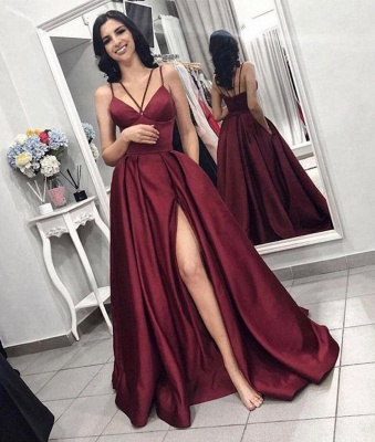 Sexy Sleeveless Front Split Prom Gown | Burgundy Spaghetti-Straps A-Line Evening Dress_2