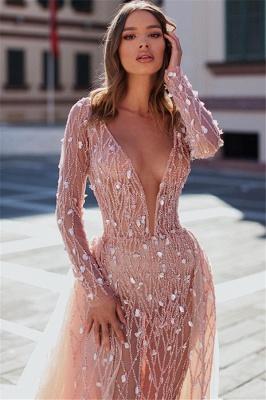 Elegant Mermaid Deep V-Neck Long Sleeves Crystal Long Prom Dress With Detachable Skirt_2