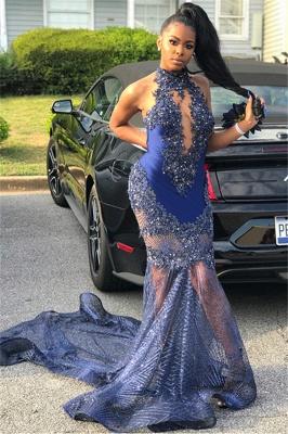 Sexy Mermaid Sleeveless High Neck Applique Long Prom Dress_2