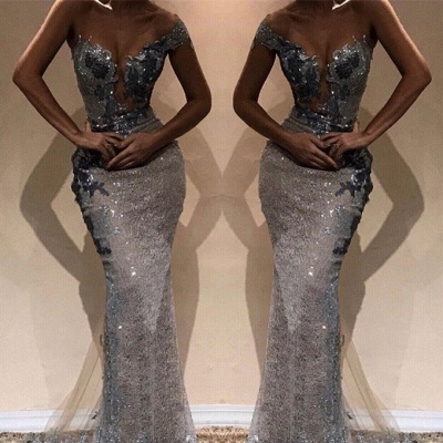 Glamorous Sheath One-Shoulder Silver Sequins Long Prom Dress_2