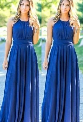 Ocean Blue Halter  Cheap Bridesmaid Dresses | A-line Open Back Floor-length Bridesmaid Dresses_1