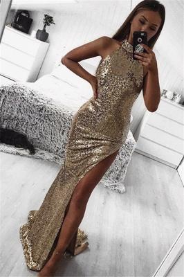 Gold Sheath Halter Sleeveless Side Slit Sequins Sexy Long Prom Dress_1