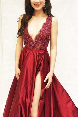 Burgundy A-line Sleeveless V-Neck Applique Side Slit Long Prom Dress_2