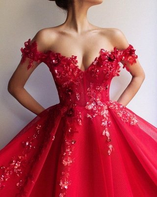 Glamorous Ball Gown Off The Shoulder Applique Flowers Evening Dresses_3